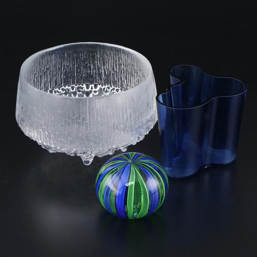 Iitala Art Glass Vase, Textured Bowl and Murano Style Glass Paperweight