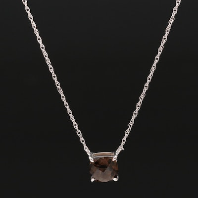 Sterling Silver Smoky Quartz Pendant Necklace