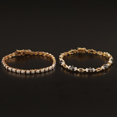 Sterling Diamond Bracelets with Rubies and Sapphires