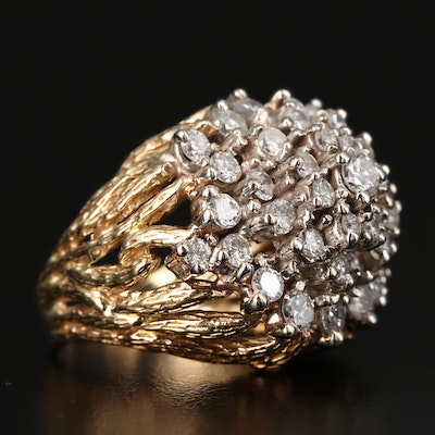18K 3.49 CTW Diamond Faux Bois Cocktail Ring