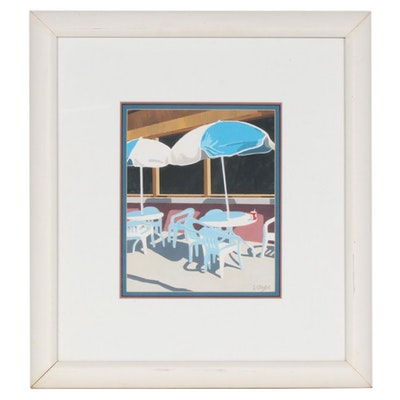 J. O'Malley Gouache Painting of Cafe Patio Scene