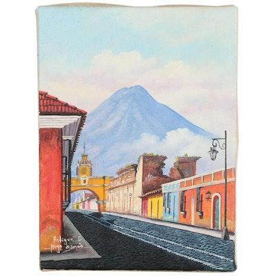 "Hugo Siman Street Scene Oil Painting ""Antigua"", Late 20th to 21 Century"