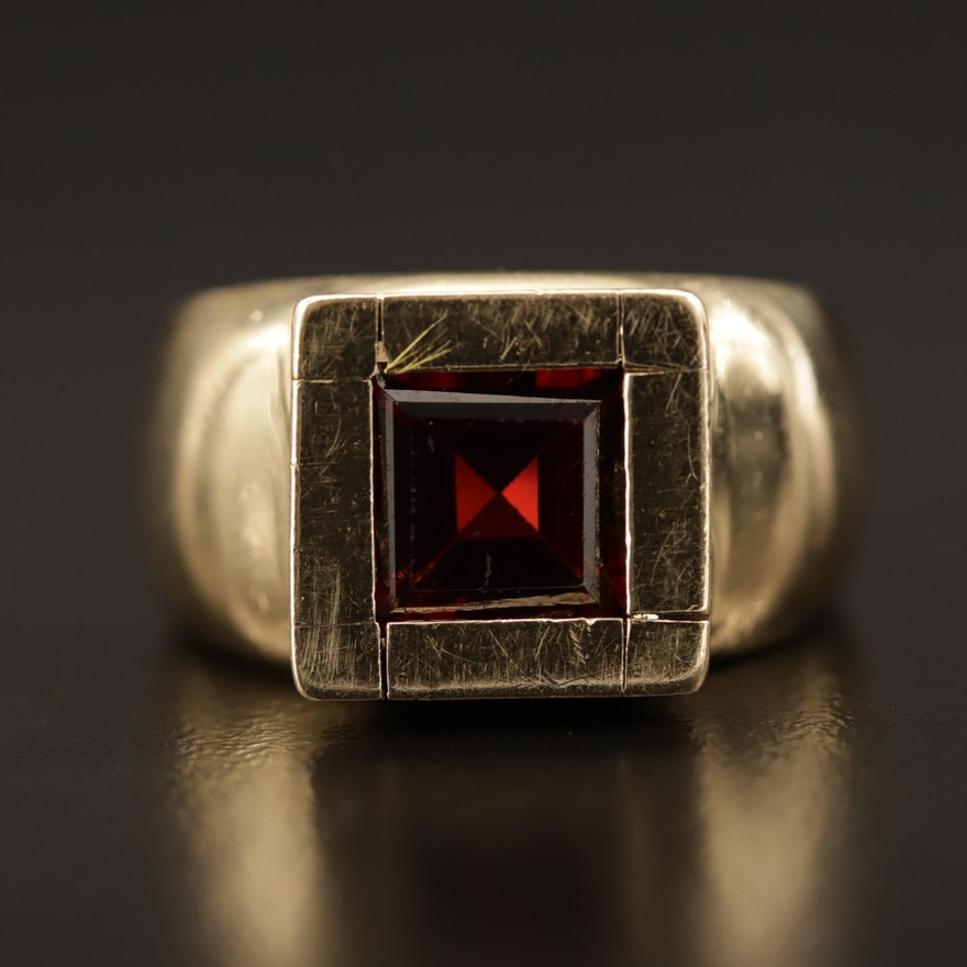 14K Garnet Geometric Ring