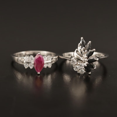 Sterling Rings with Ruby, Sapphire and Cubic Zirconia