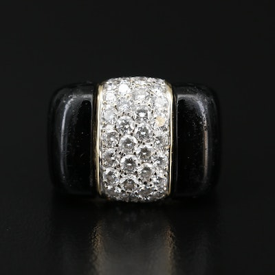 18K 2.08 CTW Diamond and Glass Inlay Ring