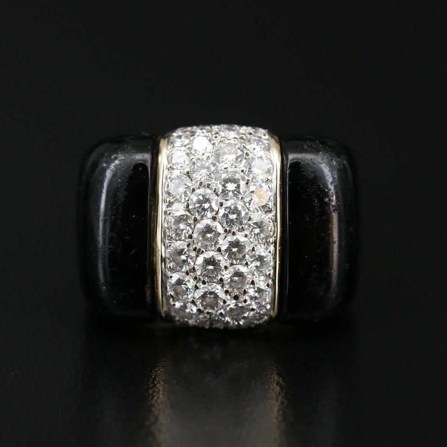 18K 2.08 CTW Diamond and Glass Inlay Ring