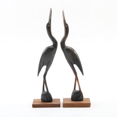 Pair of Carved Animal Horn Heron Figurines