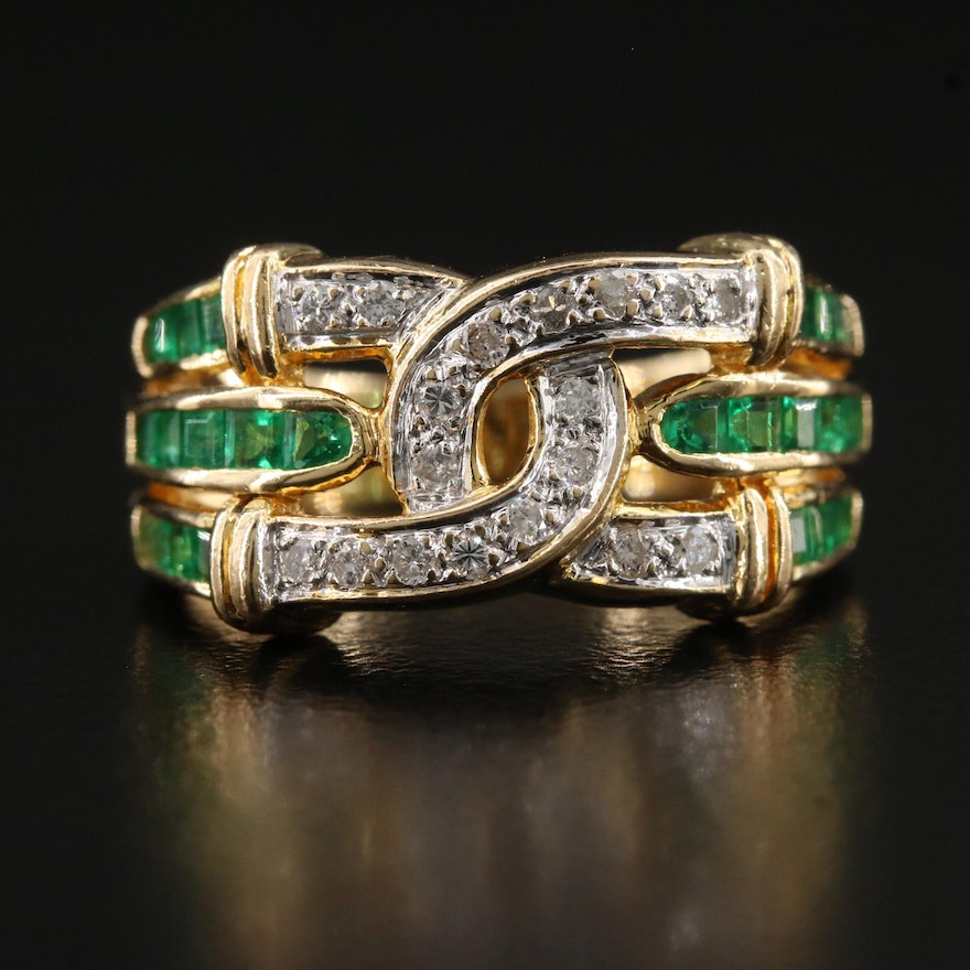 18K Diamond and Emerald Knot Motif Band