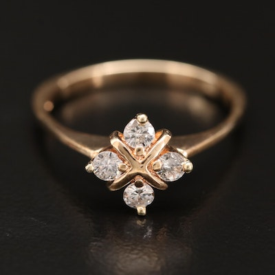 14K Diamond Quatrefoil Ring
