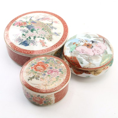 Royal Satsuma Porcelain Trinket Boxes with Chinese Porcelain Box