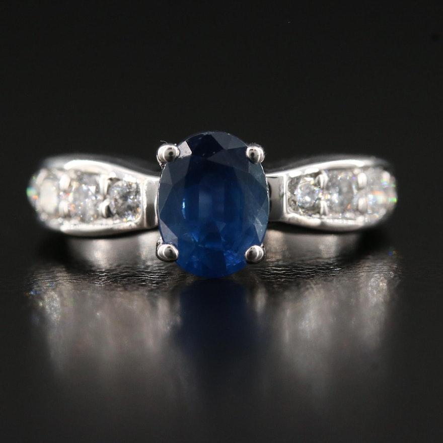 14K 1.32 CT Sapphire and Diamond Ring