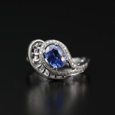 18K 1.26 CT Sapphire and Diamond Ring