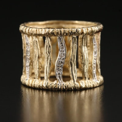 14K Diamond Openwork Wide Band