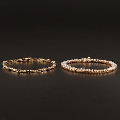 Sterling Sapphire and Diamond Bracelets