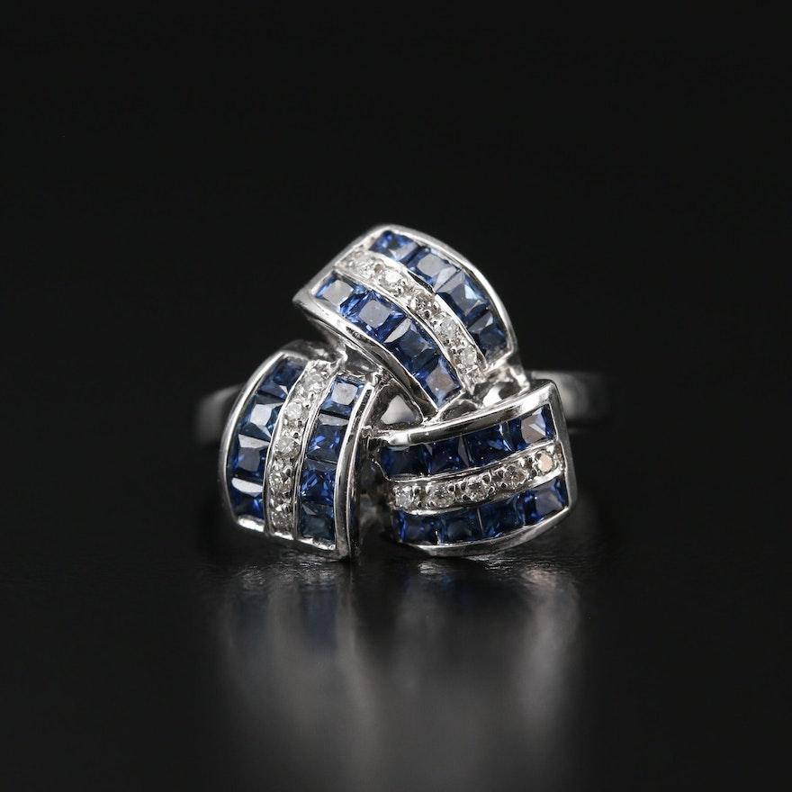 18K Diamond and Sapphire Triangular Motif Ring