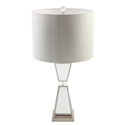 "Pier 1 ""Hayworth"" Mirrored Table Lamp with Fabric Shade"