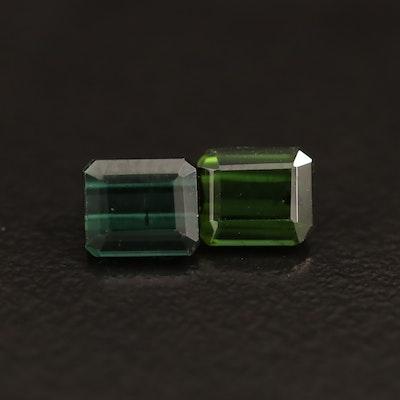 Loose Matching Pair of 1.94 CTW Green Tourmalines