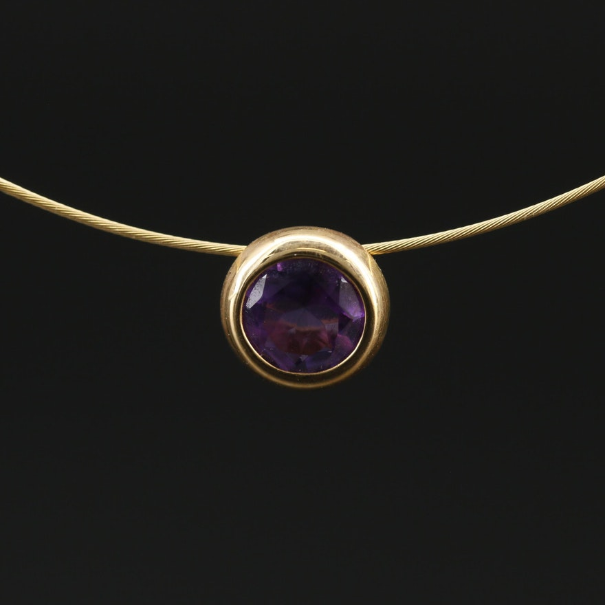 14K Amethyst Solitaire Necklace