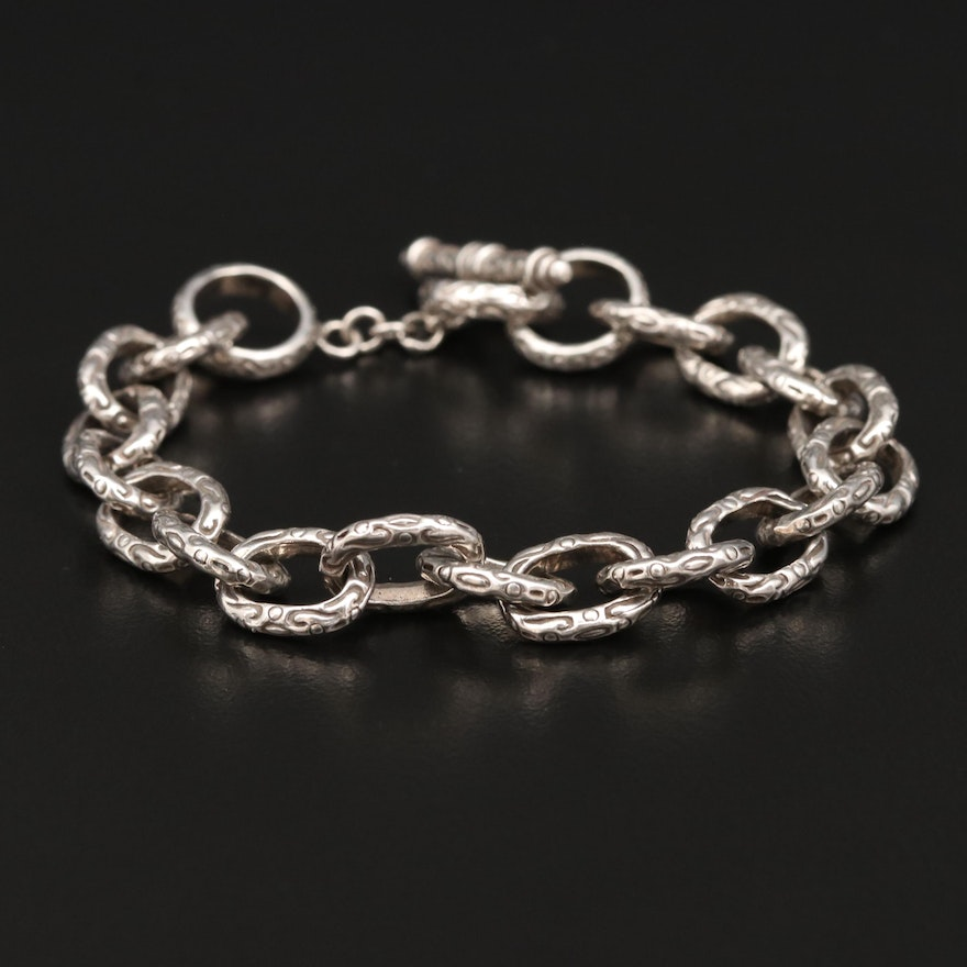 Sterling Silver Textured Cable Bracelet