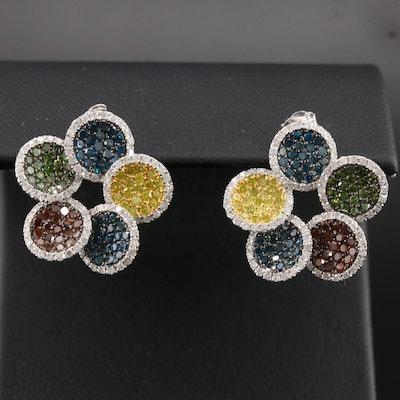 14K 2.60 CTW Multi-Color Diamond Cluster Earrings