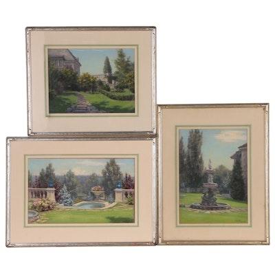 Elsie Haddon Haynes Pastel Drawings of Formal Gardens