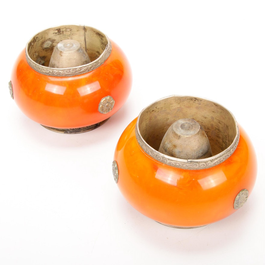 Asian Orange Acrylic Censers, Pair