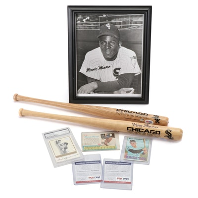 Minoso, Skowron Signed Bats, Aparicio Signed Card PSA/COA and Cards