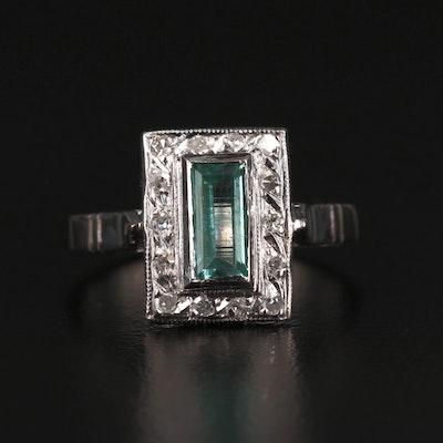 Vintage 10K Green Beryl and Diamond Ring
