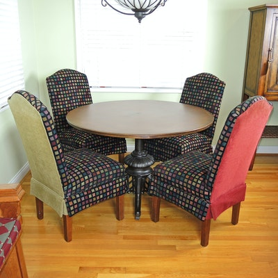 Metal Table with Cast Iron Base with Upholstered Side Chairs