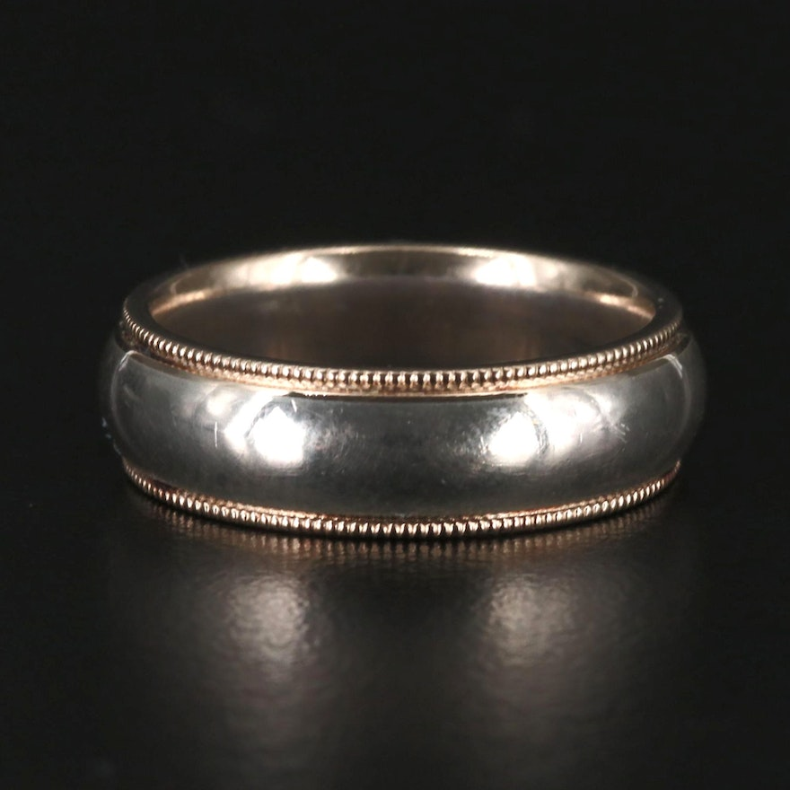 Sterling Silver Milgrain Band with 14K Accent