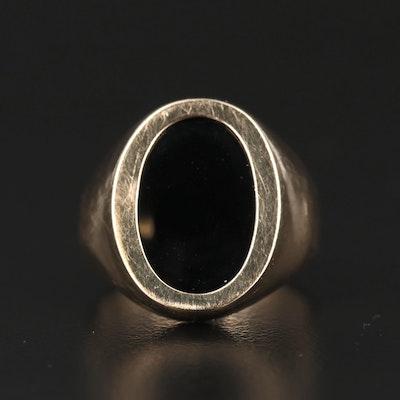 14K Black Onyx Oval Ring