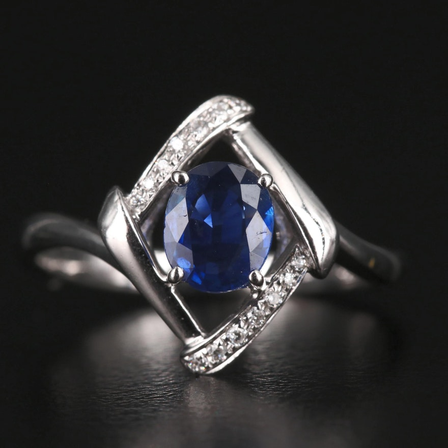14K Sapphire Ring with Diamond Accents