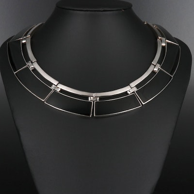 Alicia Plata Taxco 950 Silver and Onyx Collar Necklace