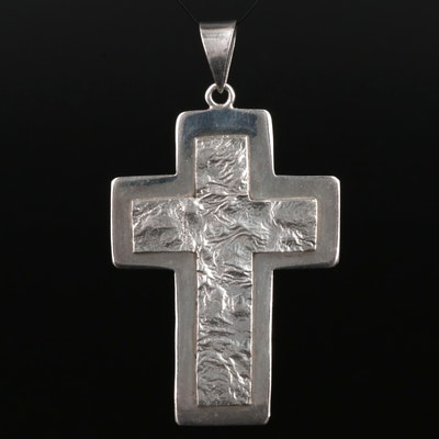 Signed Sterling Silver Cross Pendant