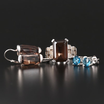 Sterling Smoky Quartz Drop Earrings and Ring with Topaz Studs