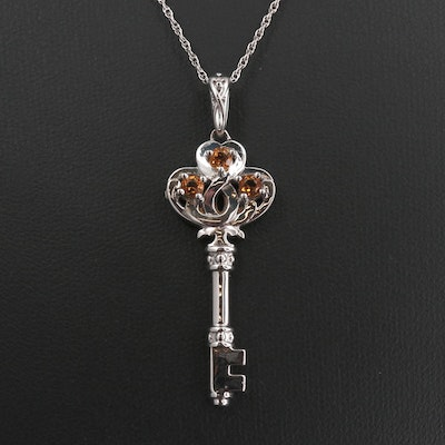 Sterling Silver Citrine Key Necklace