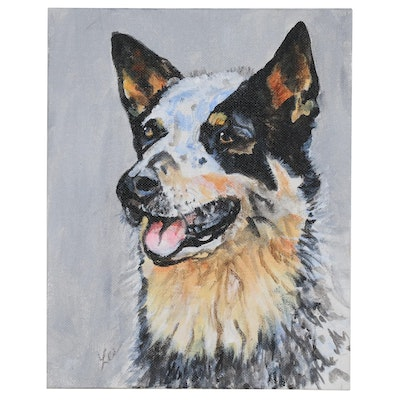 "C.J. Lee Acrylic Painting ""Queensland Blue Heeler"", 2016"