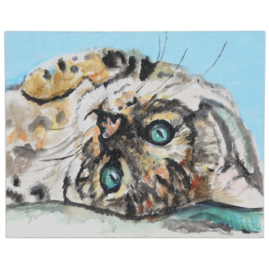 "C.J. Lee Acrylic Painting ""Bengal Cat"", 2016"