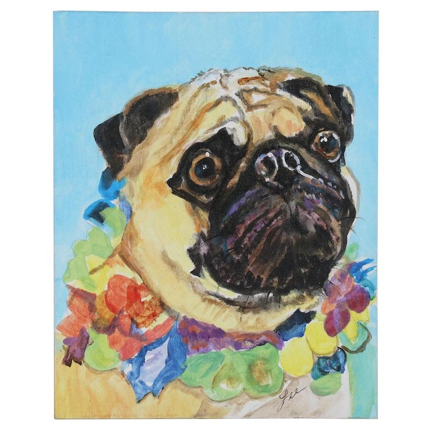"C.J. Lee Acrylic Painting ""Pug"", 2015"