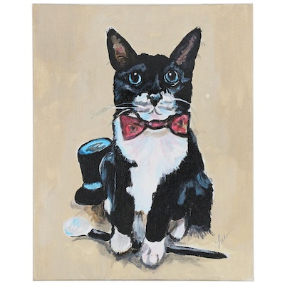 "C.J. Lee Acrylic Painting ""Tuxedo Cat"", 2016"