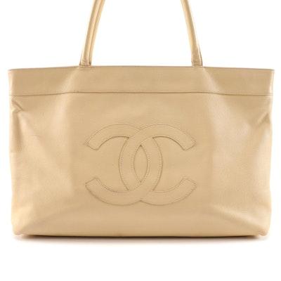 Chanel Logo Beige Caviar Leather Tote Bag
