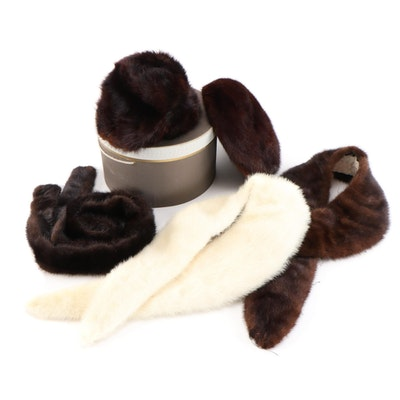 Mink Fur Hats and Collars with Hat Box Featuring Lisette, Mid-20th Century