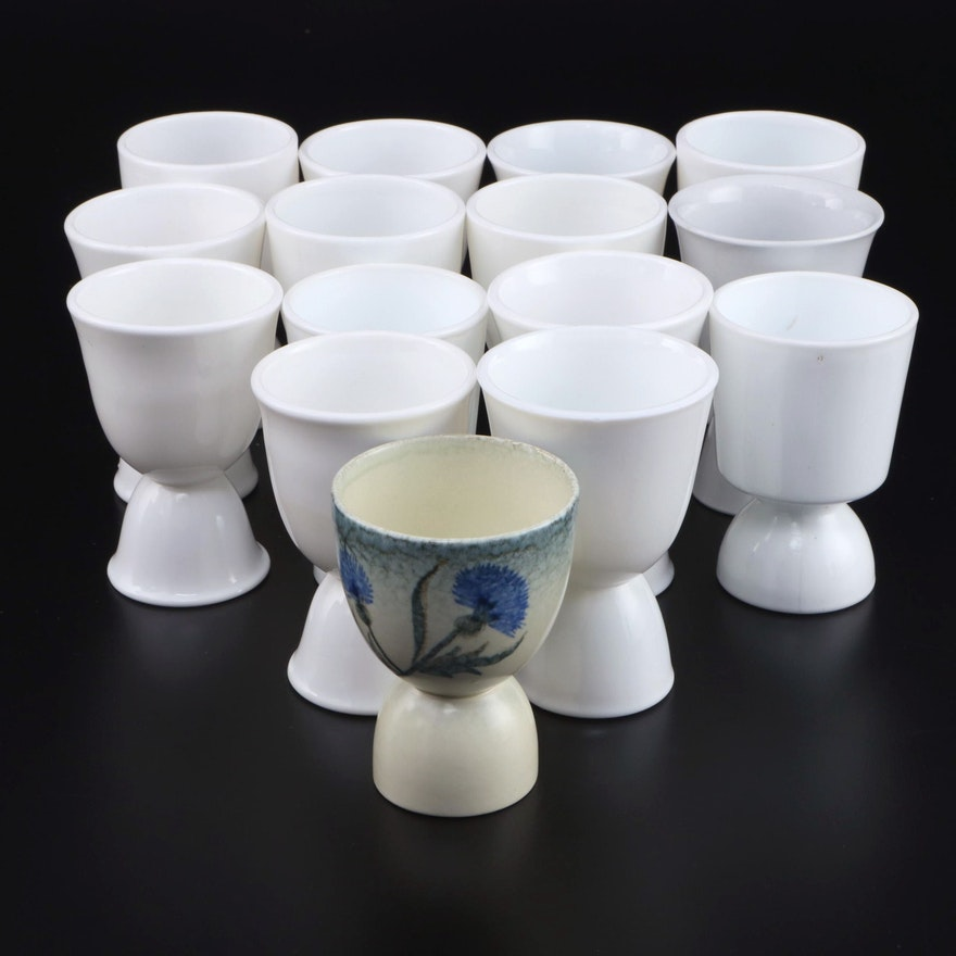 Milk Glass and Ceramic Egg Cups, Mid to Late 20th Century