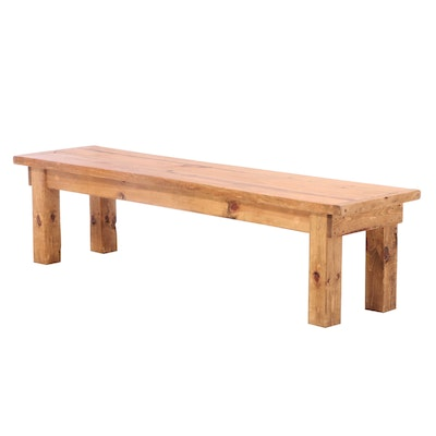 Rustic Pine Bench with Breadboard Top