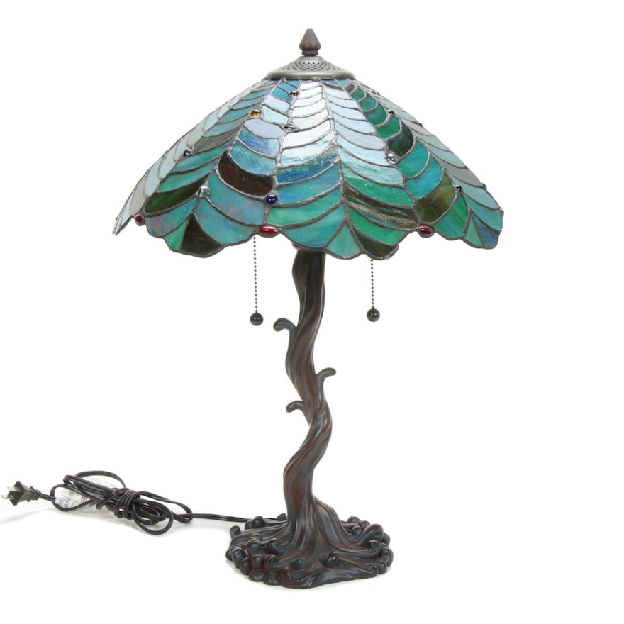 Stained Glass Tree Motif Table Lamp