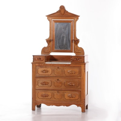 Victorian Walnut Marble Top Chest of Drawers with Mirror, Late 19th Century