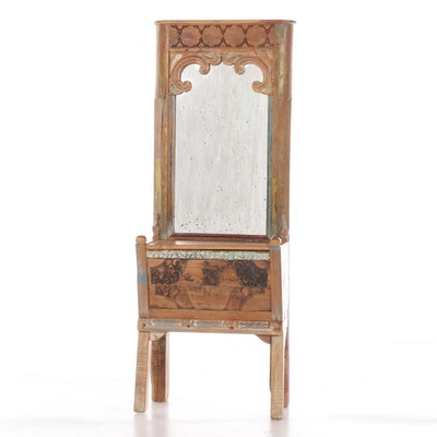 Arhaus Carved and Paint-Decorated Wood Mirrored Hall Bench