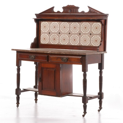 Victorian Mahogany Marble Top Washstand with Tile Backsplash, 19th Century