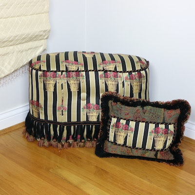 Upholstered Ottoman with Accent Pillow