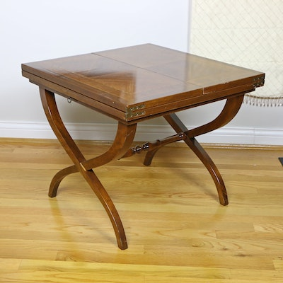 Classical Style Marquetry-Inlaid, Cross-Frame Side Table with Extending Top